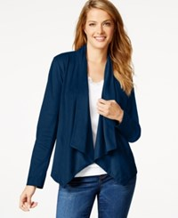 Styleandco. Style And Co. Faux Suede Draped Jacket Only At Macy's Industrial Blue