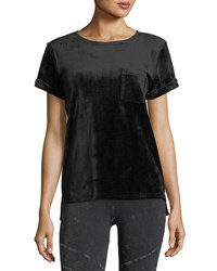 Marc New York Velvet Short Sleeve Pocket Tee Black