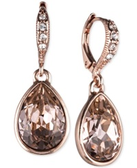 Givenchy Rose Gold Tone Crystal Drop Earrings