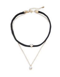 Design Lab Lord And Taylor Cord Chainlink Layered Crystal Pendant Necklace Silver