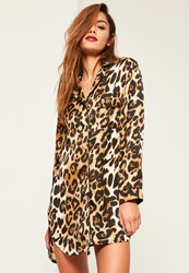 Missguided Brown Leopard Print Night Shirt Black