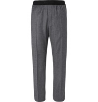 Helmut Lang Striped Wool Trousers Gray