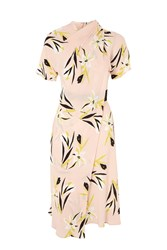 Topshop Tall Floral Origami Dress Nude