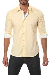 Jared Lang Long Sleeve Contrast Trim Semi Fitted Shirt Yellow