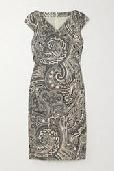 Max Mara Vosci Wrap Effect Paisley Print Cotton Dress Black