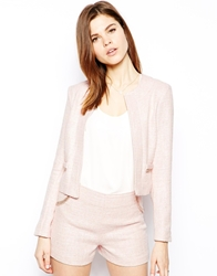 Lipsy Boucle Jacket With Chain Trim Pink