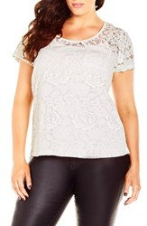 City Chic Plus Size Women's Floral Burnout Lace Top