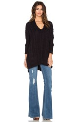 Free People Easy Cable V Neck Sweater Black