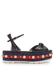 Gucci Pearl Embellished Leather Flatform Sandals Navy