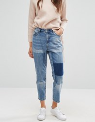 Only Tonni Boyfriend Jean With Patch Detail Light Blue