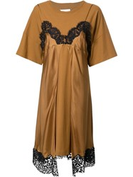 Maison Martin Margiela Lace Slip Layered T Shirt Dress Brown