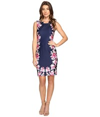 Tahari By Arthur S. Levine Scuba Floral Print Sheath Dress Navy Magenta White Women's Dress Blue