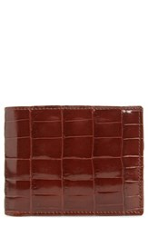 Mezlan Men's Alligator Leather Bifold Wallet Brown Sport
