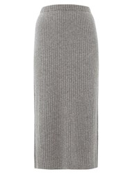 Allude Ribbed Split Hem Cashmere Skirt Dark Grey