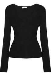 Tome Cutout Wrap Effect Ribbed Wool Top Black