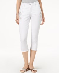 Lee Platinum Petite Embroidered Cropped Stretch Jeans White