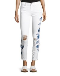 7 For All Mankind The Ankle Skinny W Embroidery White
