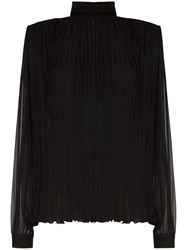 Saint Laurent Pleated Silk Blouse Black