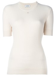 Courreges Ribbed Knit T Shirt White
