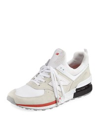New Balance Men's 574 Suede And Mesh Sneaker White Red White Red