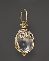Temple St. Clair 18K Owl Pendant With Blue Sapphire And Diamond Pave No Color