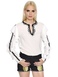 Giamba Ruffled Technical Georgette And Lace Top
