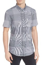 Ben Sherman Men's Mod Fit Textured Micro Gingham Shirt Navy Blaze