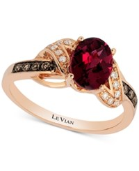 Le Vian Raspberry Rhodolite 1 1 2 Ct. T.W. And Diamond 1 8 Ct. T.W. Ring In 14K Rose Gold Garnet