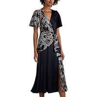 Prabal Gurung Wildcat Print Silk Midi Dress Black