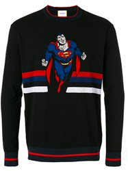 Iceberg Superman Intarsia Jumper Men Cotton Polyamide Xl Black