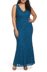 Decode 1.8 Plus Size Women's Illusion Lace A Line Gown Teal