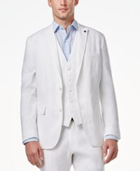Inc International Concepts Men's Slim Fit Stretch Linen Blazer Only At Macy's White