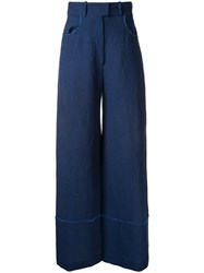 Martin Grant Raw Edge Detail Trousers Blue