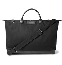 Want Les Essentiels Hartsfield Leather Trimmed Organic Cotton Canvas Holdall Black