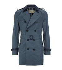 Burberry The Kensington Mid Length Trench Coat With Suede Trims Male Blue