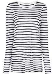 Alexander Wang T By Striped Jersey Top White