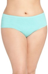 Nordstrom Plus Size Women's Lingerie Seamless Hipster Briefs Teal Ripple Heather
