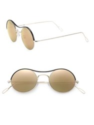 Kyme Ros 49Mm Leather Trimmed Round Sunglasses Gold
