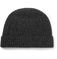 A.P.C. Melange Wool And Cashmere Blend Beanie Gray