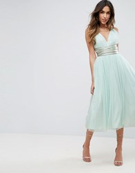 Asos Premium Tulle Midi Prom Dress With Embellished Ribbon Ties Mint Green