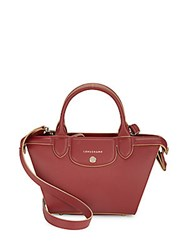 Longchamp Le Pliage Heritage Logo Print Leather Crossbody Tote Dark Red