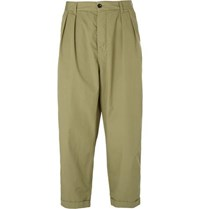 Albam Wide Leg Pleated Washed Cotton Poplin Trousers Green