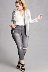 Forever 21 Plus Size Distressed Jeans Grey