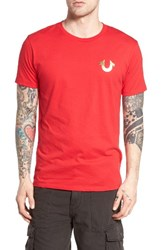 True Religion Men's Brand Jeans Gold Buddha Graphic T Shirt Ruby Red