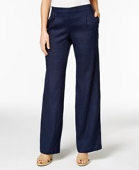 Charter Club Linen Pull On Pants Only At Macy's Intrepid Blue