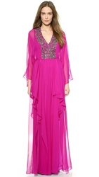 Notte By Marchesa Long Sleeve Caftan Gown Fuchsia