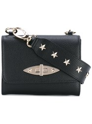 Red Valentino Star Studded Shoulder Bag Women Calf Leather Metal One Size Black