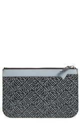 Kenzo Monogram Leather Pouch Black White