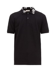 Alexander Mcqueen Logo Embroidered Cotton Polo Shirt Black