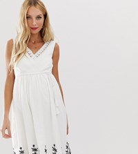 Mamalicious Embroidered Summer Dress White